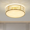 Crystal Drum Shaped Flush Ceiling Light Minimalism Gold Finish Flushmount Lighting for Bedroom