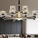 K9 Crystal Round Chandelier Light Contemporary Black Ceiling Suspension Lamp for Living Room