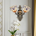 Tiffany Glass Brass Finish Sconce Light Fixture Shaded 2-Head Traditional Wall Mounted Lamp