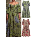 African Womens Dress Floral Printed Blouson Sleeve Off the Shoulder Tied-Waist Maxi A-line Dress