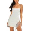 Womens Sexy Dancing Fashion Rhinestone Fringe Embellished Plain Mini Strap Dress