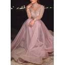 Fancy Ladies Dress See-through Mesh Applique Long Sleeve Mock Neck Maxi Pleated A-line Dress in Pink