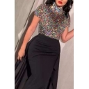 Party Womens Dress Sequins Short Sleeve High Neck Patchwork Maxi Bodycon Dress in Black