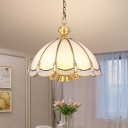 Simplicity Dome Shade Suspension Light Scalloped Glass Chandelier Lighting in Gold