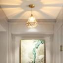 Clear Glass Diamond Ceiling Light Simplicity Single Corridor Hanging Pendant Light in Gold