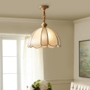 Glass Panes Dome Suspension Lighting Minimalism 1-Light Dining Room Pendant Ceiling Light in Gold