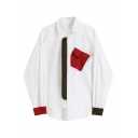 Leisure Womens Shirt Contrated Flap Pocket Long Sleeve Spread Collar Button Up Patched Loose Fit Shirt Top in White