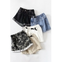 Girls Trendy Shorts Camo Patterned Mid Rise Roll Up Cuffs Relaxed Fit Denim Shorts