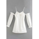 Sexy Womens Dress White Long Sleeve Cold Shoulder Bow Patched Short A-line Dress