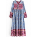 Cozy Womens Dress Long Sleeve V-neck Tied Front Cut Out Floral Print Mid Swing Dress