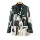Ladies Stylish Blazer Tie Dye Print Long Sleeve Double Breasted Regular Fit Blazer in Black