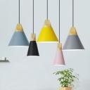 Single-Bulb Restaurant Hanging Lamp Macaron Pendant Light with Conical Aluminum Shade