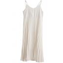 Sexy Womens Dress Plain Spaghetti Straps Deep V-neck Maxi A-line Pleated Cami Dress