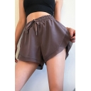Novelty Womens Shorts Side Split False Two Pieces Ventilation High Rise Loose Fitted Drawstring Waist Yoga Shorts