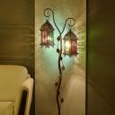 Metal Tree Vine Floor Lamp Turkish 2-Head Living Room Standing Light with Lantern Shade in Brown