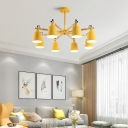Horn Shaped Metal Chandelier Macaron 8-Head Ceiling Light with Wood Rod for Living Room
