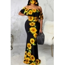 Chic Womens Dress Plant Pattern Ombre Color off Shoulder Ruffle Floor Length Short Sleeve Maxi Bodycon Dress