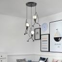 Black Climbing Man Hanging Light Decorative 3 Bulbs Iron Multi Light Pendant for Dining Room