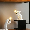 Cartoon Mouse Mini Night Light Resin 1-Light Kids Bedroom Table Lamp with Exposed Bulb Design