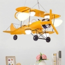 Jet Plane Child Room Chandelier Lamp Metallic Modern LED Hanging Lighting in Yellow