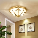 Classic Bowl Shaped Flush Mount Lighting Opaque Glass Ceiling Mount Light Fixture for Dining Room