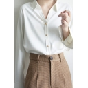 Chic Womens Shirt Long Sleeve Spread Collar Button Up Relaxed Fit Shirt Top in White