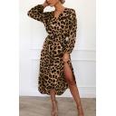 Girls Unique Dress Leopard Printed Long Sleeve Surplice Neck Slit Side Mid A-line Dress