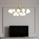 White Glass Balls Pendant Chandelier Minimalistic Brass Hanging Light for Dining Room