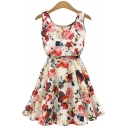 Women's Casual Scoop Neck Sleeveless Floral Print A-Line Mini Dress