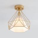 Diamond Corridor Flush Mount Ceiling Light Nordic Iron 1 Bulb Semi Flush Light with Fabric Shade Inside