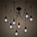 8-Head Swag Pendant Light Industrial Bedroom Multi Lamp Ceiling Light with Ball Iron Cage in Black