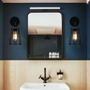 1 Head Swivelable Cage Wall Light Fixture Industrial Black Metal Sconce Lamp for Bathroom