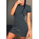 Simple Women's T-Shirt Dress Stripe Pattern Crew Neck Short Sleeve Slim Fitted Mini T-Shirt Dress