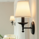 Minimalistic Empire Shade Sconce Lamp 1 Head Fabric Wall Mount Lighting in White