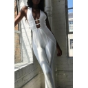 Stylish Womens Jumpsuit Sleeveless Plunge Neck Cut Out Ankle Length Skinny Tank Jumpsuit in White
