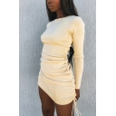 Leisure Girls Dress Solid Color Long Sleeve Crew Neck Drawstring Side Mini Tight Dress