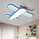 Plane Shaped LED Flush Mount Lighting Kids Acrylic Blue Ceiling Mount Light for Bedroom