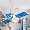 Satellite Chandelier Pendant Light Childrens Metal Bedroom Ceiling Lamp with Astronaut Deco
