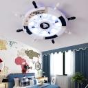 Rudder Bedroom LED Ceiling Light Fixture Wooden 8 Heads Cartoon Flush Mount Lamp