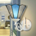 White 1-Light Wall Sconce Mediterranean Blue and Water Glass Conical Wall Mount Light for Corridor