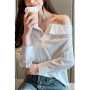 Sexy Off The Shoulder Long Sleeve Buttons Down Plain Shirt