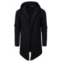 Mens Cool Plain Black Long Sleeve Open Front Loose Tunic Cape Hoodie