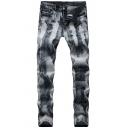 Men's Retro Bleach Wash Stretch Slim Fit Grey Jeans