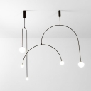 Arched LED Suspension Light Nordic Metal 3 Bulbs Living Room Chandelier Light with Sphere Opal Glass Shade in Black