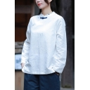 Vintage Womens Shirt Linen and Cotton Long Sleeve Mandarin Collar Frog Button Relaxed Fit Shirt Top