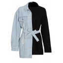 Stylish Girls Sweatshirt Denim Patched Bow Tied Waist Long Sleeve Crew Neck Regular Pullover Sweatshirt in Black-Blue