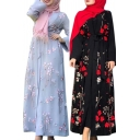 Vintage Womens Robe Muslim Floral Decoration Tie-Waist Long Sleeve Maxi Relaxed Fit Wrap Dress