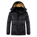 Mens Stylish Black Plain Long Sleeve Zip Placket Flap Pocket Thick Hooded Puffer Coat Longline Down Jacket