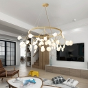 Gold Circular Chandelier Light Minimalist 45-Light Metal LED Hanging Lamp with Firefly Design