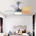 Macaron Round LED Ceiling Fan Lamp Acrylic Childrens Bedroom Semi Flush Mount Light Fixture